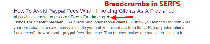 example of breadcrumbs in SERPS