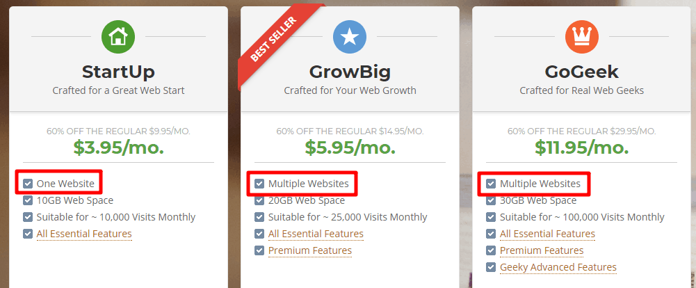 SiteGround StartUp vs GrowBig vs GoGeek website limits