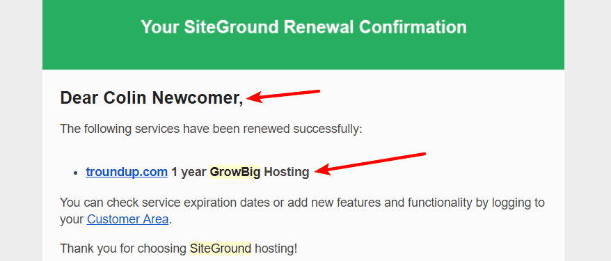 My SiteGround GrowBig receipt