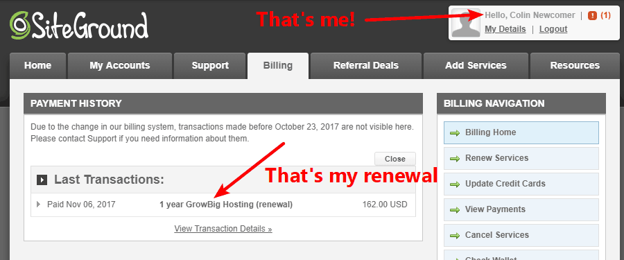 Proof that I use the SiteGround GrowBig plan