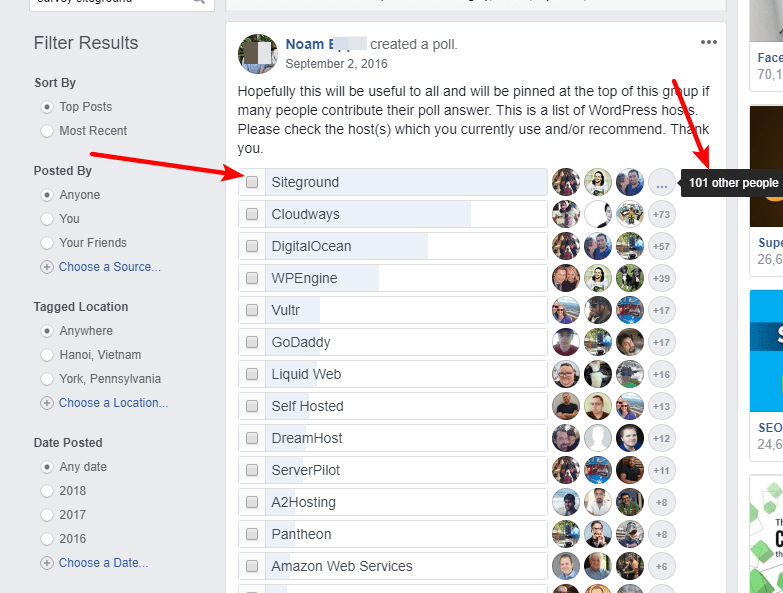 Facebook WordPress Hosting Poll