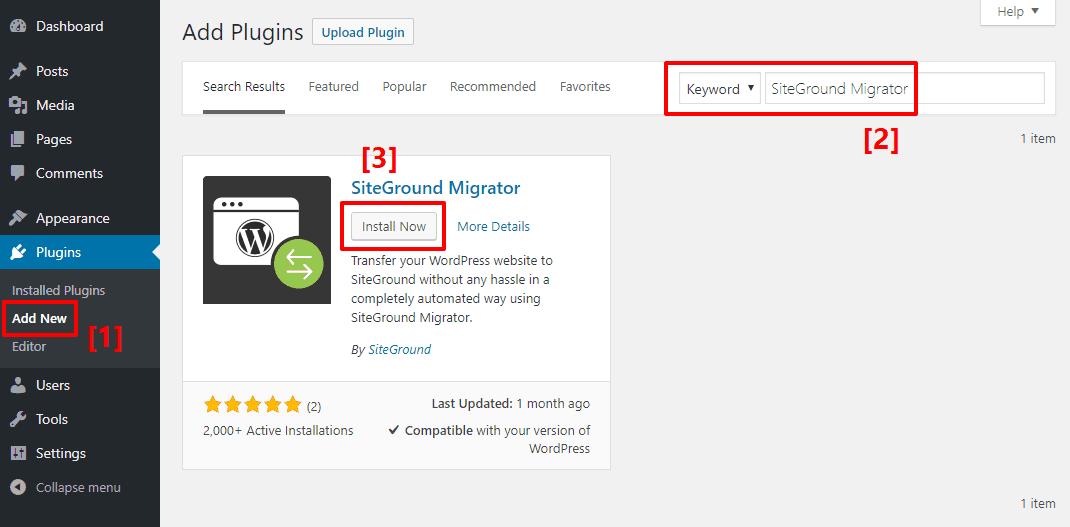 install siteground migrator plugin