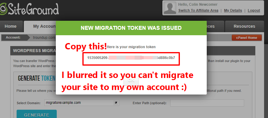 Copy migration token to a safe place