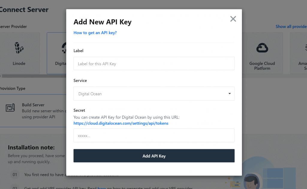 Add new API key