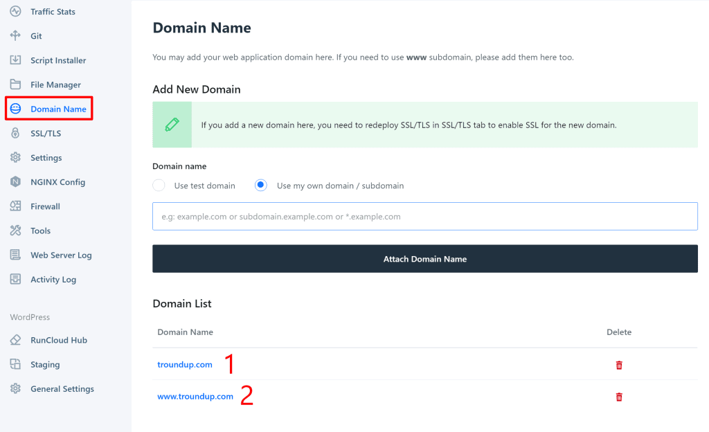 Add both versions of your domain name