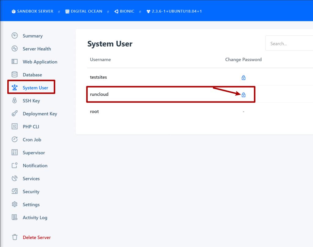 Set RunCloud user password