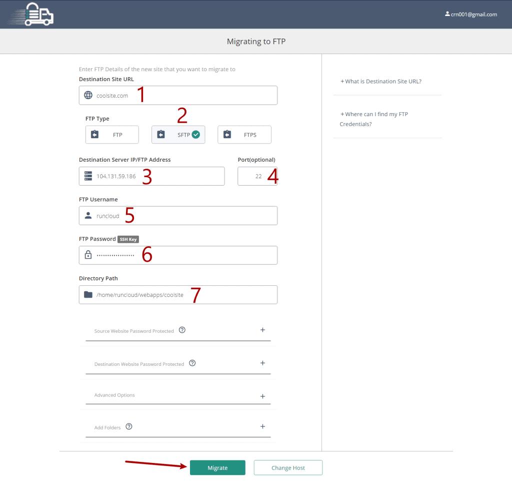 Enter configuration details